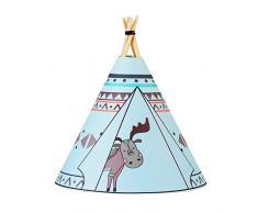 Pauleen 48030 Twinkle Tipi Moose, luminaria de sobremesa con Pilas, lámpara Infantil LED Azul, Alce, Tela/Madera, Blue