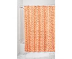 InterDesign Nora Cortina de baño textil   Cortina para baño de 183 cm x 183 cm   Cortina de ducha o bañera lavable con diseño de espiga   Poliéster naranja