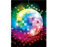 Amscan Mantel plástico, de 137 x 260 cm, con estampado de bola de discoteca.
