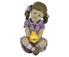Naeve Leuchten 5123601 - Lámpara de exterior (forma de niña, incluye 1x LED y célula solar, 1,2 V, incluye batería, eficiencia energética AA, NiMH, 250 mA, 21,1 x 13,9 x 12,5 cm, polirresina, de color)