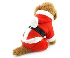 smalllee Lucky Tienda Gato de Mascota Perro Ropa Disfraz de Navidad de Papá Noel Sudadera con Capucha Perchero de Pared de Terciopelo Mono pequeño Perro Ropa XS