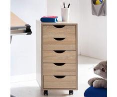 Wohnling Roll Container Mina 33 x 68 x 38 cm, Madera de DM 5 cajones Sonoma, Ruedas cajonera Moderno con Stand Contenedor bÿ ¸ rocontainer