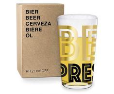 RITZENHOFF Vaso de Cerveza, Dorado y Negro, 8.2 cm