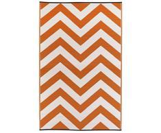Fab Hab - Laguna - Alfombra para Exterior e Interior - Naranja y Blanco - (120 cm x 180 cm)
