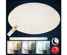 Briloner Leuchten Luz LED Remoto, Lámpara de Techo Regulable, Control de Temperatura de Color, Blanco, 2200 lúmenes, 22 vatios, Diámetro 39 cm, W