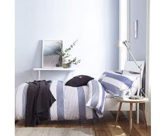 Catherine Lansfield Newquay - Juego de Funda de edredón para Cama Individual, diseño de Rayas, algodón poliéster, Azul, Set edredón Doble