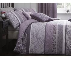 Dreams n Drapes Hanworth - Juego de funda nórdica individual horizontal con diseño de hojas y pájaro en sombras, reversible, color gris, morado, Super King Duvet Cover Set