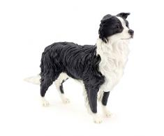 Leonardo Collection Figura de Perro Border Collie Adorno, Piedra, Negro