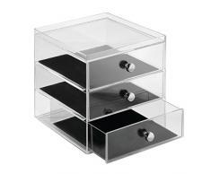 InterDesign Clarity Jewelry Joyero organizador | Caja joyero con 3 cajones para relojes, collares, anillos, etc. | Organizador de joyas antiarañazos | Plástico transparente