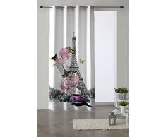 Martina Home Glamour Cortina con ollaos, Tela, Gris, 140 x 280 cm