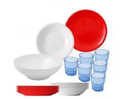 Cartaffini Agile - Vajilla de melamina DE 20 Piezas para cámping, 25 cm, Color Blanco y Rojo