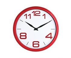 Premier Housewares - Reloj de pared (35,7 cm), color rojo y blanco