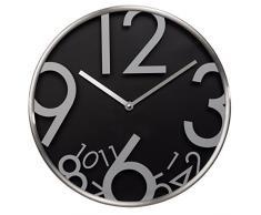 Hama AG-300 Quartz wall clock Círculo Negro, Plata - Reloj de pared (AA, Negro, Plata, Aluminio, Vidrio, 43 mm, 615 g)