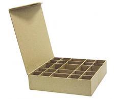 Decopatch Mache - Caja para anillos o botones (25 compartimentos)