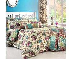 Dreams n Drapes Juego de Cama Pillowcases_P, algodón poliéster, Turquesa, Double Cover Set