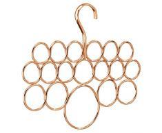 InterDesign Axis Organizador de pañuelos con 18 anillos, perchero organizador de metal para chales, pañuelos, corbatas y cinturones, color cobre