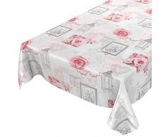 ANRO Hule Mantel Encerado Mesa Mantel de Hule Lavable Rosas rústico Antiguo Gris 180x 140cm, Borde de Corte