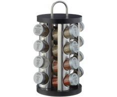 Küchenprofi 2605502816 - Especiero de acero inoxidable y madera, 16 piezas, color negro