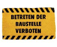 Young Generation YH 101144 M Shoe Max - Felpudo (aprox. 37 x 22 cm, fibra de coco, con base antideslizante de látex), diseño con texto Betreten der Baustelle verboten (Prohibido acceder a las obras)