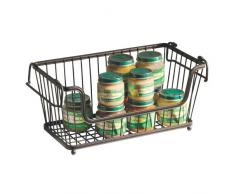 InterDesign York Lyra Cesto organizador de cocina, baño y oficina, cesta de alambre apilable de metal, bronce
