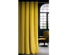Eurofirany Velvet Senf - Cortinas de Terciopelo Opacas, 10 Ojales, Elegante, Glamour, Dormitorio, salón, salón, 140 x 250 cm