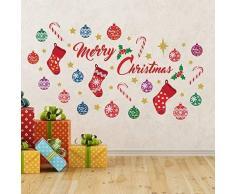 Wallflexi Navidad Decoraciones Pegatinas de Pared Merry Christmas Juego de decoración de Pared murales Adhesivos salón niños guardería Escuela Restaurante Cafe Hotel casa Oficina decoración