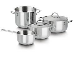 Barazzoni Cuocimania - Batería de cocina de acero inoxidable (6 unidades: olla: 18 cm, cacerola: 18 cm, cacerola: 22 cm, cacerola: 14 cm, tapa: 18/22 cm)