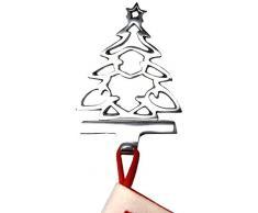 Insideretail - 800455silsgn de 16 calcetín de Navidad para colgar. Hierro fundido - Neutro Árbol de Navidad, metal, plata, 14 x 9 x 21 cm