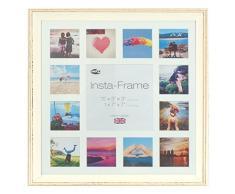 Inov8 16 x 40,64 cm Insta-Frame Austen marco para Instagram 13/de estampado a cuadros de fotos con paspartú blanco y blanco con borde, de color blanco