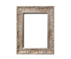Marco de fotos de oro envejecido con marco de póster de 10 x 8 pulgadas, con tablero de fibra de densidad media, listo para colgar, con lámina de estireno irrompible, color blanco envejecido