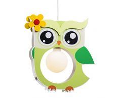 elobra lámpara infantil para techo con búho, habitación de los Niños, madera, color verde, a + +