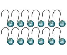 Premier Housewares - Enganches para cortina de ducha (resina, 12 unidades), color azul