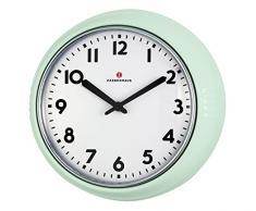 Zassenhaus 72945Retro Reloj de Pared Diámetro 24cm Verde Menta, Aluminio, Verde, 26x 8.5x 25cm