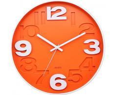 BUVU ZH09827B Reloj de Pared, Naranja, 30 x 30 x 5 cm