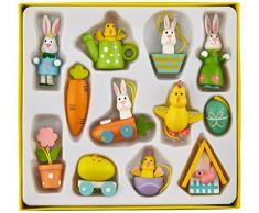Heitmann Deco 30075 Set, 24 piezas de madera adornos de Pascua, madera, Amarillo/Naranja/Verde/Azul, 13.7 x 14.9 x 2.2999999999999998 cm