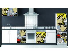 Plage Cómico Vinilo Adhesivo para la Cocina, Vinilo, Multicolor, 60x180 cm