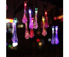 SALCAR 5Metros Solar LED Luz Cadena 20de Gotas de Agua decoración iluminación para Navidad Party Fijo (RGB)