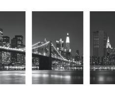 Eurographics DP-AU1064 Deco Print - Tríptico adhesivo de pared (50 x 70 cm), diseño de perfil de Nueva York