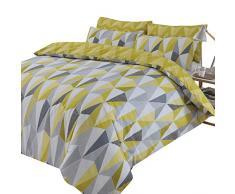 Dreamscene Billie - Juego de Funda de edredón y Funda de Almohada Reversible, diseño de triángulo geométrico, Individual, polialgodón, 50% algodón, Color Amarillo Ocre Negro y Gris