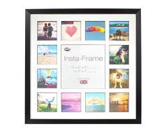 Inov8 16 x 40,64 cm Insta-Frame Marco para Instagram 13/de estampado a cuadros de fotos con paspartú blanco y negro con borde, 2 unidades, madera de fresno/con borde plateado
