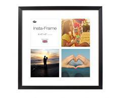 Inov8 16 x 40,64 cm Insta-Frame Marco para Instagram 4/de estampado a cuadros de fotos con paspartú blanco y blanco con borde, 2 unidades, madera de fresno/con borde plateado