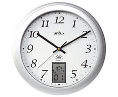 Unilux Instinct - Reloj de pared (AA, Acero inoxidable, Transparente, Acero inoxidable, Vidrio)