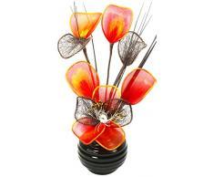 Flourish Decoración Jarrones Flores Artificiales Decorativas Naranja, Amarillo, 32cm