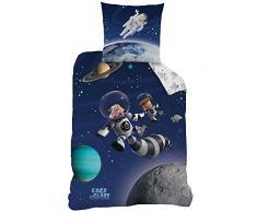 CTI 043821 Ice Age - Juego de ropa de cama para habitación infantil (algodón, funda nórdica de 140 x 200 cm, funda de almohada de 63 x 63 cm), diseño de emojis, color azul