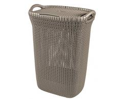 Curver 228410 - Cesta de ropa Knit, 57 L, 43.2 x 32.1 x 59.4 cm, color marrón topo