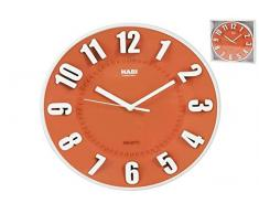 Habi Reloj de Pared, Redondo, 25 cm, Plástico, Naranja