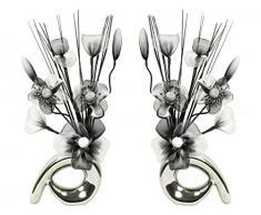 Flourish Diseño de flores de 794415 32 cm a juego Mini de remolino de flores artificiales en jarrón, negro/blanco