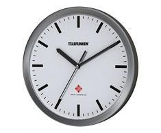Telefunken Radio Reloj de pared, aluminio, antracita, 25 x 4 x 25 cm, aluminio, Weißes Ziffernblatt (ohne Ziffern), 25 x 4 x 25 cm