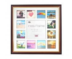 Inov8 16 x 40,64 cm Insta-Frame Marco para Instagram 13/de estampado a cuadros de fotos con paspartú blanco y negro con borde, madera de caoba