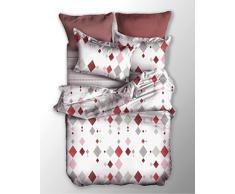 decoking 03770 Ropa de cama 135 x 200 cm Cama Infantil con 1 funda de almohada de 80 x 80 Juego de cama fundas de cama de cama de microfibras gaardi cremallera Basic Collection Romb Blanco Gris Rosa Rojo Burdeos